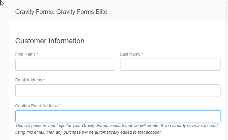 Gravity Forms Billing Page